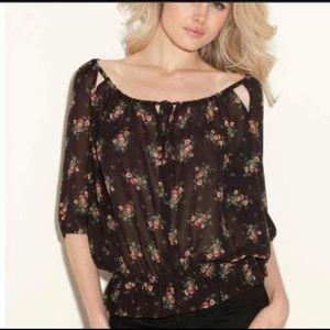 Guess black sheer floral boho blouse